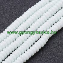 Fehér Üveggyöngy Korong Gyöngyfüzér 8x3,5mm