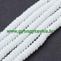 Fehér Üveg Korong Gyöngyfüzér 8x3,5mm