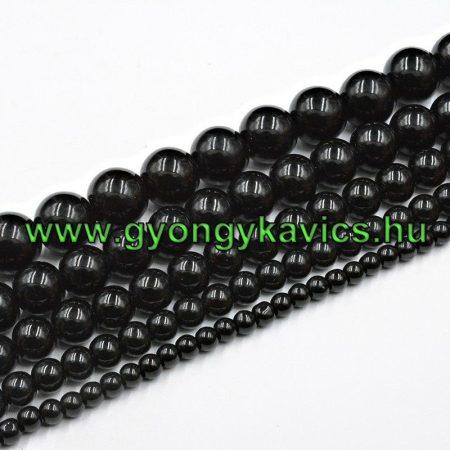 Fekete Achát Ásványgyöngy Gyöngyfüzér 6mm