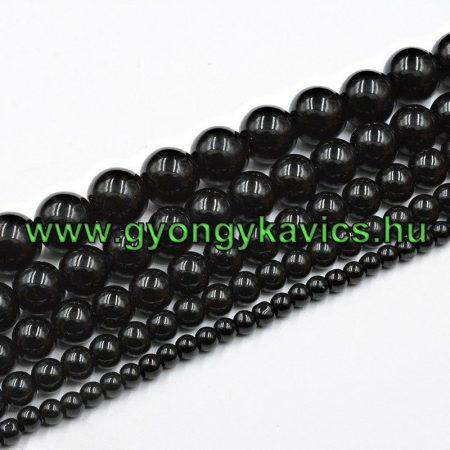 Fekete Achát Ásványgyöngy  6mm