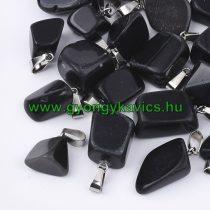 Fekete Achát Ásvány Medál Ezüst Színű Akasztóval 15-35x10-20x5-15mm