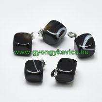 Fekete Achát Ásvány Medál 24-29x19-25x17-25mm