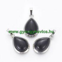 Fekete Achát Ásvány Medál Ezüst Keretben 26x16-17x8-10mm