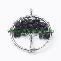 Ezüst Színű Fekete Achát Ásvány Életfa Medál 29mm
