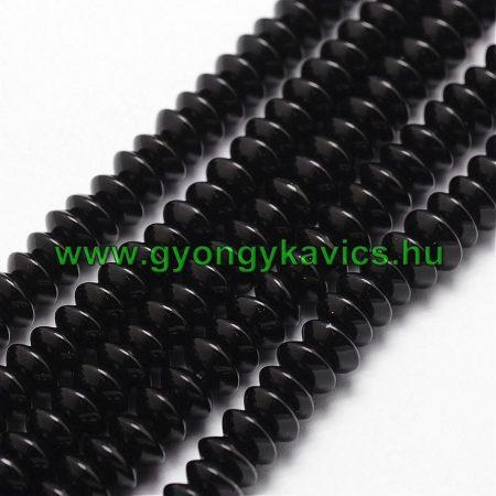 Fekete Achát Korong Ásványgyöngy Gyöngyfüzér 6x4mm