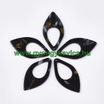 Fekete Cirmos Műgyanta Medál 44x23mm