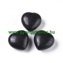 Fekete Fa Szív 39-40x21,5mm