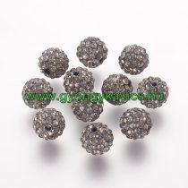 Fekete Színű Nyaklánc Karkötő Ékszer Dísz FEHÉR Polymer Polimer Shamballa Strassz Kövekkel 10mm