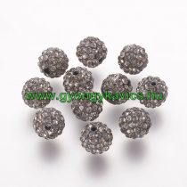 Fekete Színű FÜLBEVALÓ ALAP (félig átfúrt) Ékszer Dísz Polymer Polimer Shamballa Strassz Kövekkel 8mm