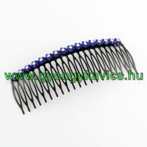 Kék Strasszos Virágos Fekete Fém Hajfésű 117x43mm