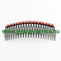 Piros Strasszos Virágos Fekete Fém Hajfésű 117x43mm