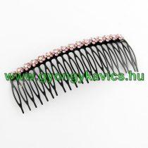 Rózsaszín Strasszos Virágos Fekete Fém Hajfésű 117x43mm