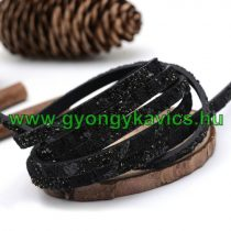 Fekete Flitteres Műbőr Szál 5x2mm 1,4m