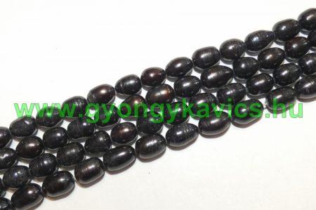 Fekete Kagyló Gyöngy 8-9x7-8mm