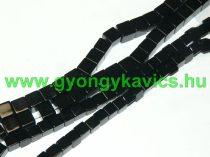 Fekete Kocka Achát (egyszínű) Ásványgyöngy Gyöngyfüzér 6x6mm