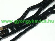 Fekete Kocka Achát (egyszínű) Ásványgyöngy Gyöngyfüzér 8x8mm