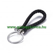 Fekete Műbőr Ezüst Színű Kulcstartó Karika 120x30mm