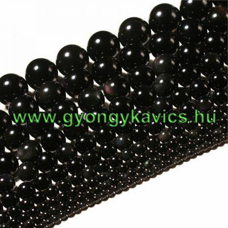 Fekete Obszidián Ásványgyöngy Gyöngyfüzér 10mm