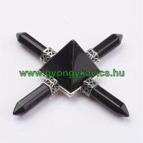 Fekete Obszidián Energetizáló Tértisztító Ásvány Piramis 9x2,7cm