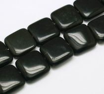 Fekete Obszidián Lapos Kocka Ásványgyöngy  20x20x6mm