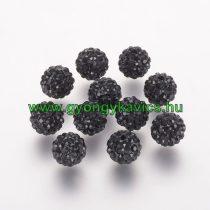 Fekete Színű Nyaklánc Karkötő Ékszer Dísz FEKETE Polymer Polimer Shamballa Strassz Kövekkel 8mm