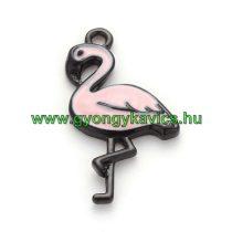 Fekete Színű Rózsaszín Tűzzománc Flamingó Medál 30x16mm