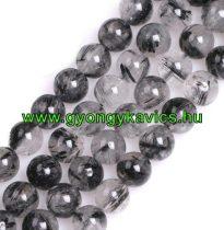 Fekete Rutilkvarc Ásványgyöngy Gyöngyfüzér 10mm