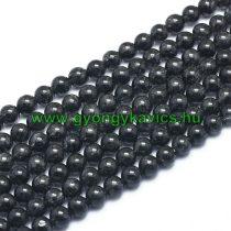 Fekete Rutilkvarc Turmalinkvarc (2) Ásványgyöngy  6mm