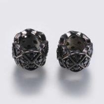 Fekete Színű Cirkón Cirkónia Strasszos Charm Közdarab Köztes 8x6mm