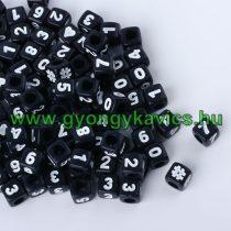 Fekete Színű Műanyag Szám Nyaklánc Karkötő Ékszer Dísz Közdarab Köztes Charm 7x7mm