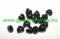 Fekete Szív Üveggyöngy 12x8mm