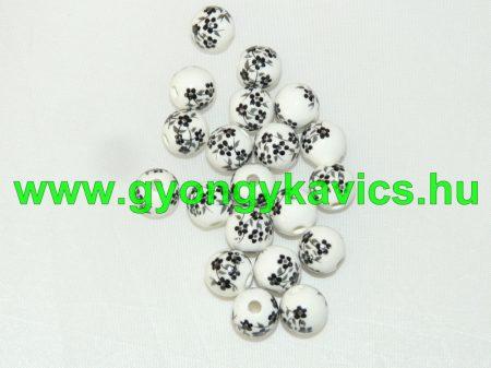 Fekete Virágos Porcelán Gyöngy 10mm
