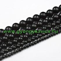 Fekete Ónix Achát Ásványgyöngy Gyöngyfüzér 8mm