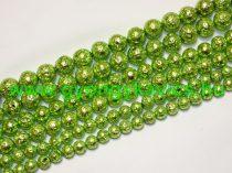 Fényes Zöld Lávakő Ásványgyöngy Gyöngyfüzér 10mm