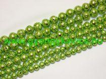 Fényes Zöld Lávakő Ásványgyöngy 6mm