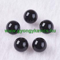 Fúratlan Fekete Achát Ásványgyöngy 10mm