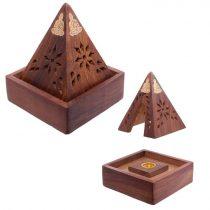 Sheesham Fa Füstölő Kúp Füstölőkúp Égető Tartó Buddha Piramis