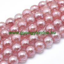 Galvanizált Fazettált Cseresznyekvarc Ásványgyöngy 10mm