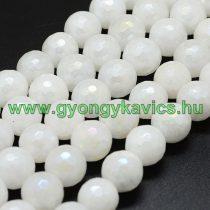 Galvanizált Fazettált Natúr Fehér Jade Ásványgyöngy Gyöngyfüzér 6mm