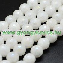 Galvanizált Fazettált Natúr Fehér Jade Ásványgyöngy Gyöngyfüzér 8mm