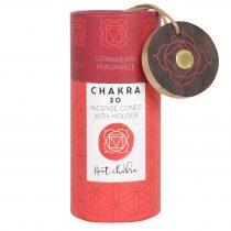 Gyökér Csakra Root Chakra Eper Illatú Díszdobozos Füstölő Kúp Ajéndék Égetővel (30db)