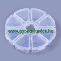 Gyöngytároló Műanyag Kerek Doboz Gyöngyfűzéshez 10,5x2,8cm