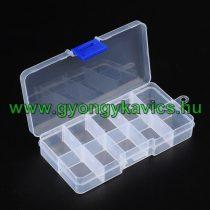 Gyöngytároló Műanyag Téglalap Doboz Gyöngyfűzéshez 10 Fakkos 7x13x2,3cm