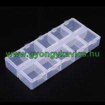 Gyöngytároló Műanyag Téglalap Doboz Gyöngyfűzéshez 10 Fakkos 6x13x2cm