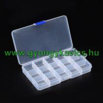 Gyöngytároló Műanyag Téglalap Doboz Gyöngyfűzéshez 15 Fakkos 10x17,5x2,3cm