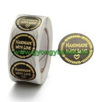 Szeretettel Kézzel Készült Handmade With Love (51) Matrica Kerek 25mm (500db)