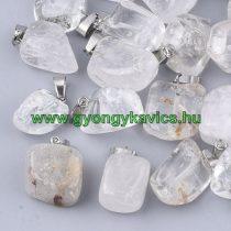 Hegyikristály Ásvány Medál Ezüst Színű Akasztóval 15-35x10-20x5-15mm