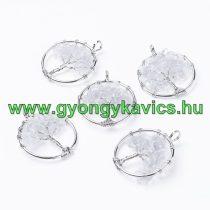 Ezüst Színű Hegyikristály Életfa Medál 29mm