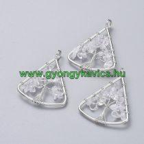 Ezüst Színű Hegyikristály Életfa Háromszög Ásvány Medál 40x30mm