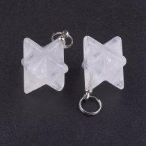 Hegyikristály Merkaba Csillag Ásvány Medál 12,5x12,5mm